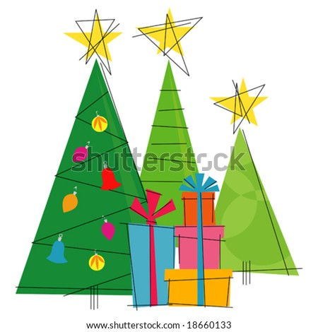 Retro-stylized Christmas Trees with gifts. Flexible, easy-edit file - stock vector