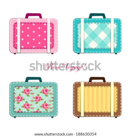 Retro suitcases as fabric applique in shabby chic style - stock vector