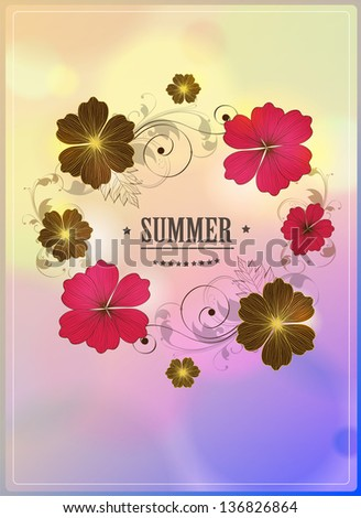 Retro Summer  Background with floral elements