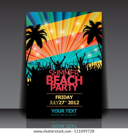 Retro Summer Beach Party Flyer - Vector Design - stock vector