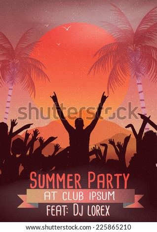 Retro Summer Beach  Party Flyer - Vector Illustration - stock vector