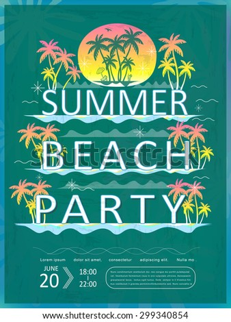 retro summer beach party poster design template