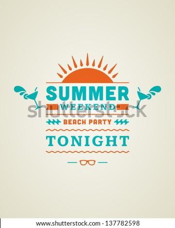 Retro summer design poster. Summer holidays typography. Vector illustration. - stock vector