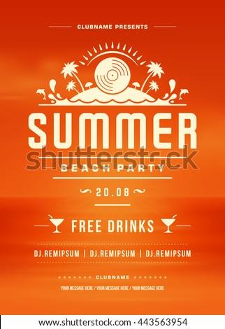 Retro Summer Party Design Poster Flyer Stock Vector 688552903