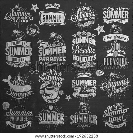 Retro  Summer Holidays Calligraphic Designs On Chalkboard| Vintage ornaments | tropical paradise, sea, sunshine, weekend tour, beach vacation, adventure labels | vector set