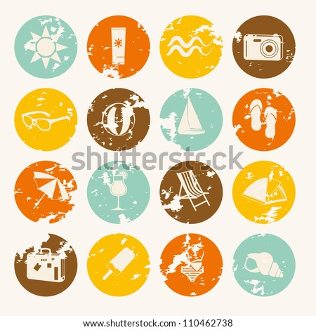retro summer icons collection - stock vector