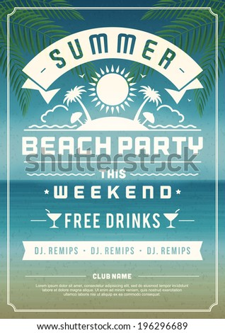Retro Summer Party Design Poster Flyer Stock Vector
