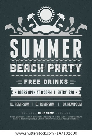 Retro Summer Party Design Poster Flyer Stock Vector Hd Royalty Free