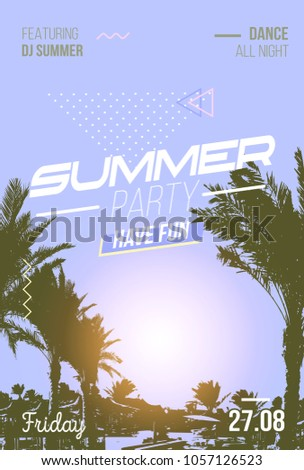 Retro Summer Poster For Beach Party In 80s Style With Palm Trees Vintage Tropical