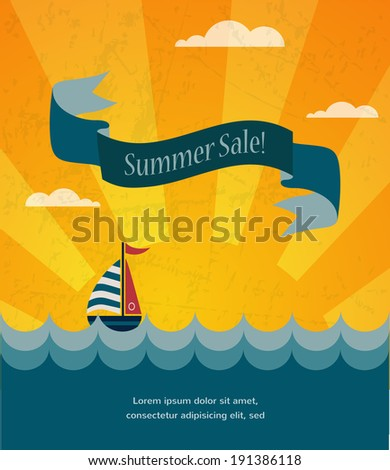 retro summer sale poster, infographic illustration  - stock vector