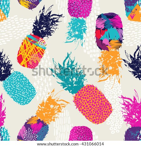 Retro summer seamless pattern design, pineapple fruit with happy vibrant colors and retro 80s style art elements. EPS10 vector. - stock vector