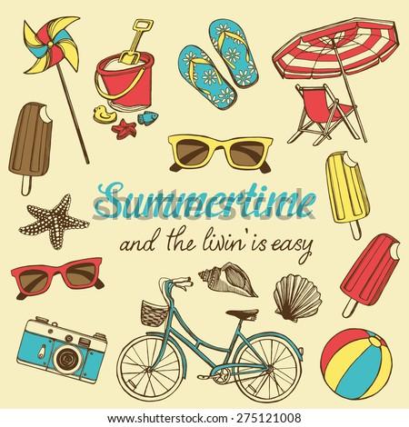 Retro summer vacation set with hand drawn bicycle, flip flops, toy pinwheel, sun glasses, ice cream, beach ball, children's beach toys, photo camera, sea star, sea shells, beach chair, beach umbrella - stock vector