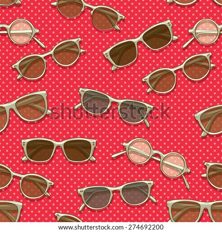 Retro sunglasses seamless pattern - stock vector