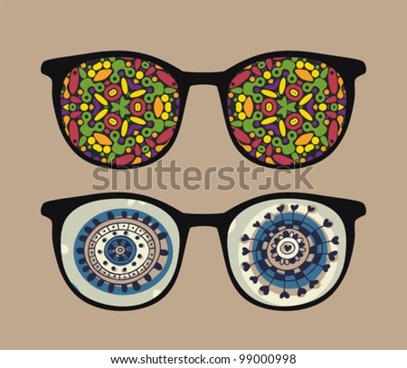 Retro sunglasses with abstract and strange reflection in it. Vector illustration of accessory - isolated eyeglasses.