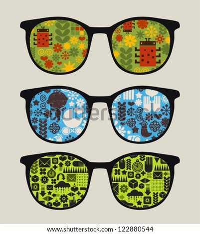 Retro sunglasses with abstract nature reflection in it. Vector illustration of accessory - eyeglasses isolated.