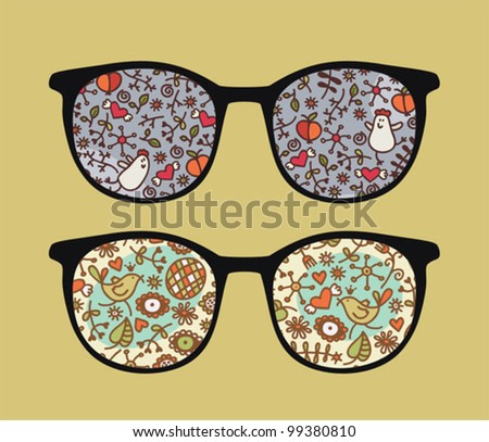 Retro sunglasses with birds and flora reflection in it. Vector illustration of accessory - eyeglasses isolated.