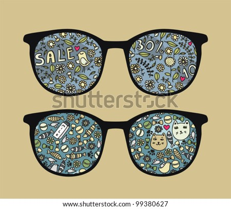 Retro sunglasses with birds and sale reflection in it. Vector illustration of accessory - eyeglasses isolated.