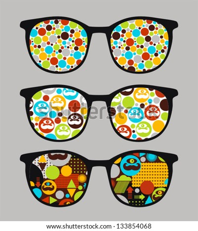 Retro sunglasses with bright reflection in it. Vector illustration of accessory - eyeglasses isolated.