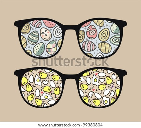 Retro sunglasses with chickens and eggs reflection in it. Vector illustration of accessory - eyeglasses isolated.