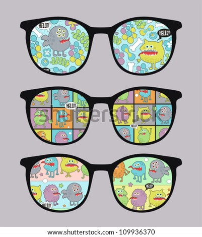 Retro sunglasses with colorful monsters reflection in it. Vector illustration of accessory - eyeglasses isolated.