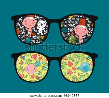 Retro sunglasses with cute child reflection in it. Vector illustration of accessory - isolated eyeglasses.
