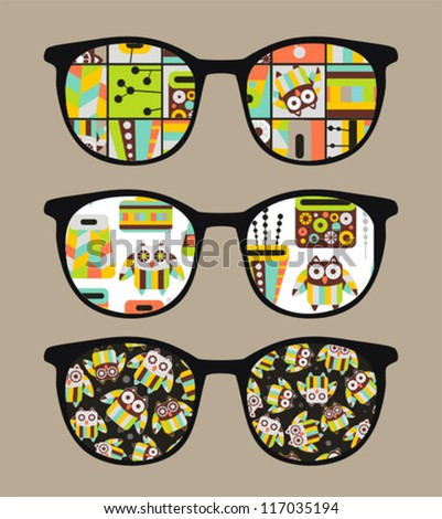Retro sunglasses with cute owls reflection in it. Vector illustration of accessory - eyeglasses isolated.