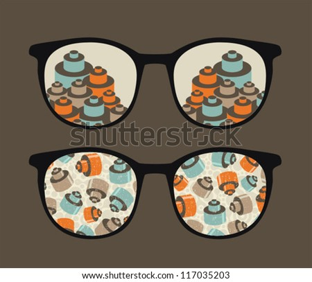 Retro sunglasses with details reflection in it. Vector illustration of accessory - eyeglasses isolated.