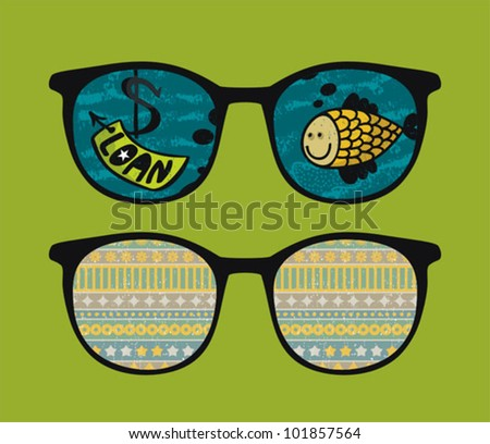 Retro sunglasses with fish  reflection in it. Vector illustration of accessory - eyeglasses isolated.