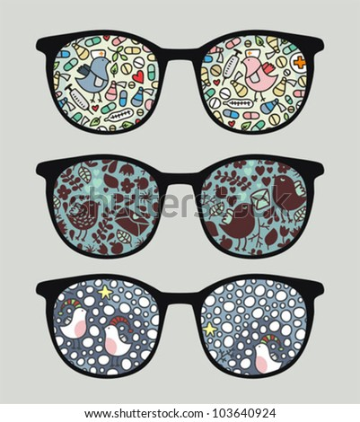 Retro sunglasses with funny birds  reflection in it. Vector illustration of accessory - eyeglasses isolated.