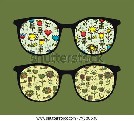 Retro sunglasses with happy flowers reflection in it. Vector illustration of accessory - eyeglasses isolated.