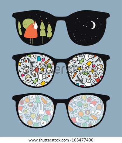 Retro sunglasses with happy winter  reflection in it. Vector illustration of accessory - eyeglasses isolated.