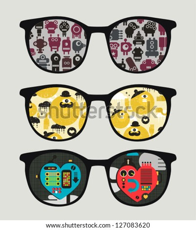 Retro sunglasses with mechanic reflection in it. Vector illustration of accessory - eyeglasses isolated.