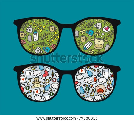 Retro sunglasses with milk and baby reflection in it. Vector illustration of accessory - eyeglasses isolated.