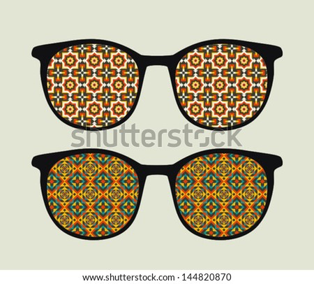 Retro sunglasses with  ornament reflection in it. Vector illustration of accessory - eyeglasses isolated.
