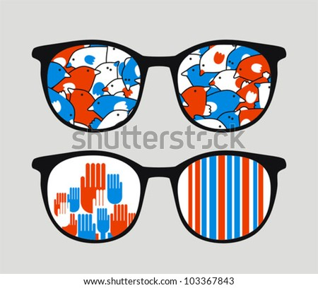 Retro sunglasses with patriotic reflection in it. Vector illustration of accessory - eyeglasses isolated.