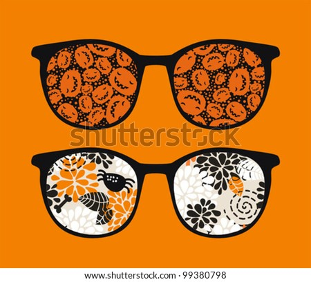 Retro sunglasses with pumpkins reflection in it. Vector illustration of accessory - eyeglasses isolated.