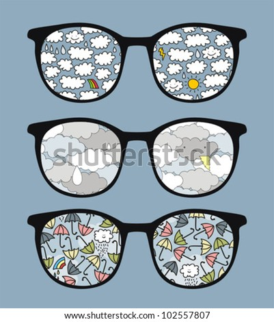 Retro sunglasses with rain  reflection in it. Vector illustration of accessory - eyeglasses isolated.