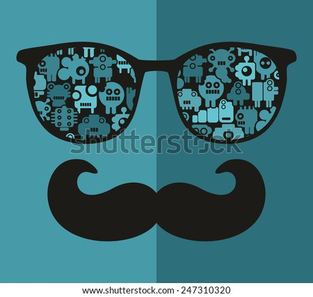 Retro sunglasses with reflection for hipster. Vector illustration of accessory - glasses isolated. Best print for your t-shirt. - stock vector