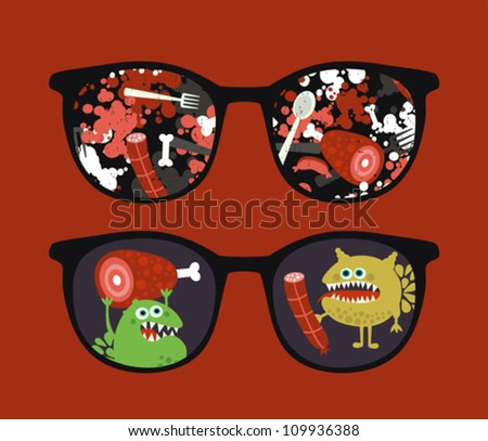 Retro sunglasses with   reflection in it. Vector illustration of accessory - eyeglasses isolated.