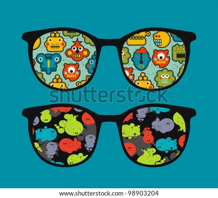 Retro sunglasses with robots and monsters reflection in it. Vector illustration of accessory - isolated eyeglasses.