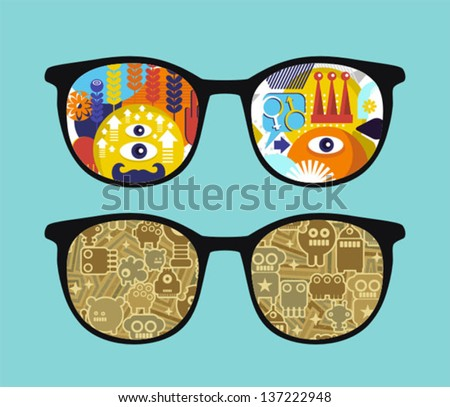 Retro sunglasses with robots reflection in it. Vector illustration of accessory - eyeglasses isolated.