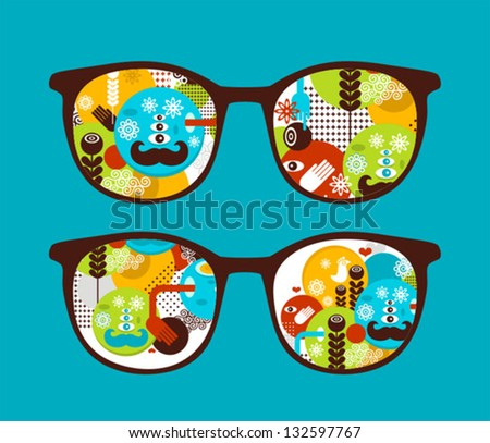 Retro sunglasses with spring  reflection in it. Vector illustration of accessory - eyeglasses isolated.