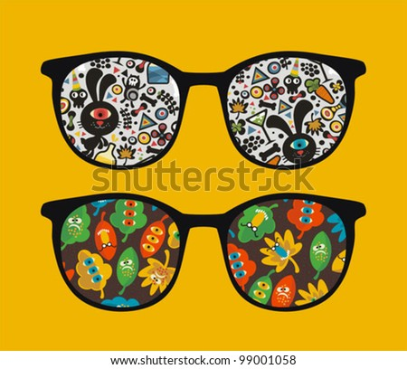 Retro sunglasses with strange monsters reflection in it. Vector illustration of accessory - isolated eyeglasses.