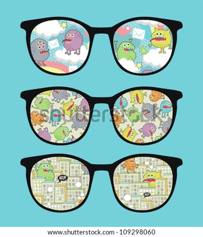 Retro sunglasses with sweet monsters  reflection in it. Vector illustration of accessory - eyeglasses isolated.
