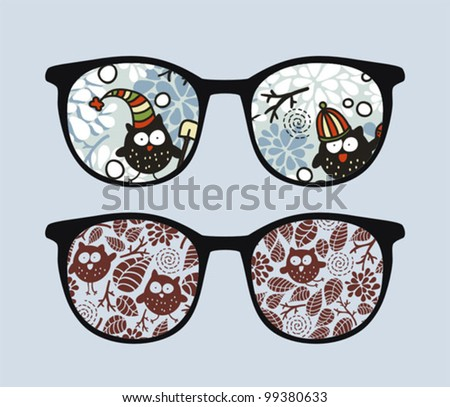Retro sunglasses with winter owls reflection in it. Vector illustration of accessory - eyeglasses isolated.