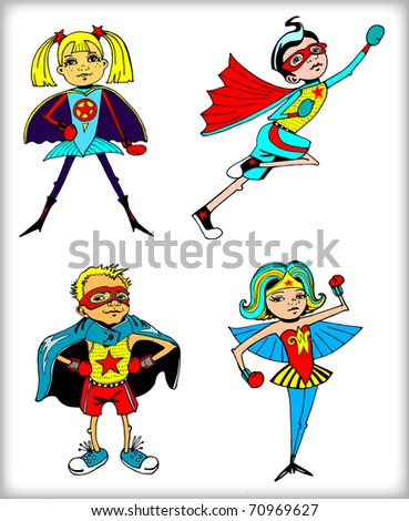 Retro Superheroes Colorful Set (vector) - stock vector