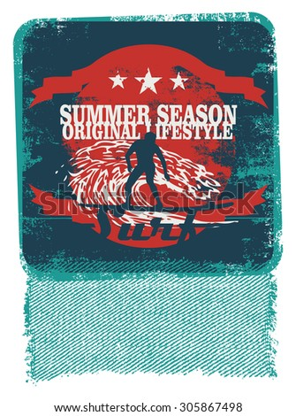 retro surf poster with surfer and stencil style - stock vector