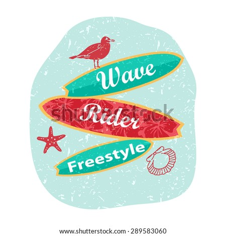 Retro surfing typographical poster with place for text for your design. Vector illustration. - stock vector