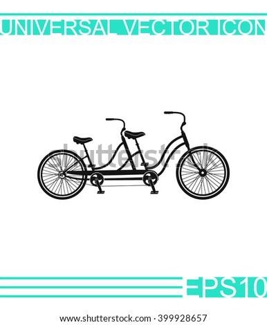 Retro tandem bicycle vector icon.