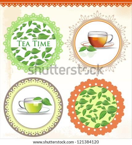 Retro Tea label vector illustration - stock vector